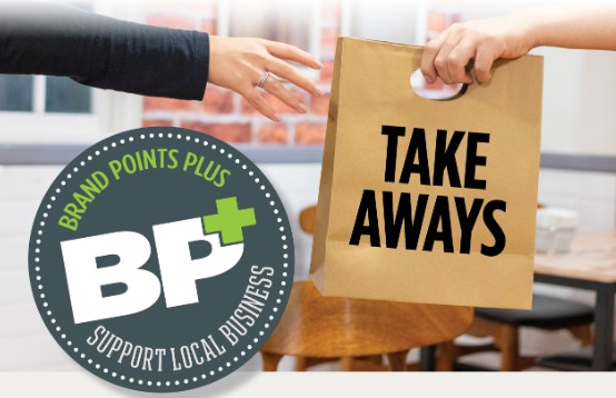 Brand Points Plus logo with hand reaching for a take out order