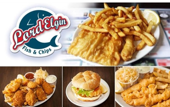 Lord Elgin Fish and Chips logo with pictures of fish and chips and burger