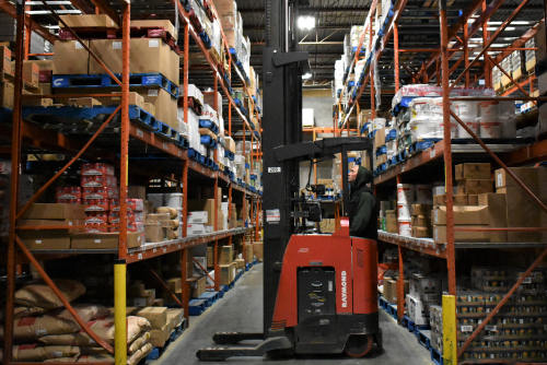 Flanagan Foodservice forklift in the warehouse