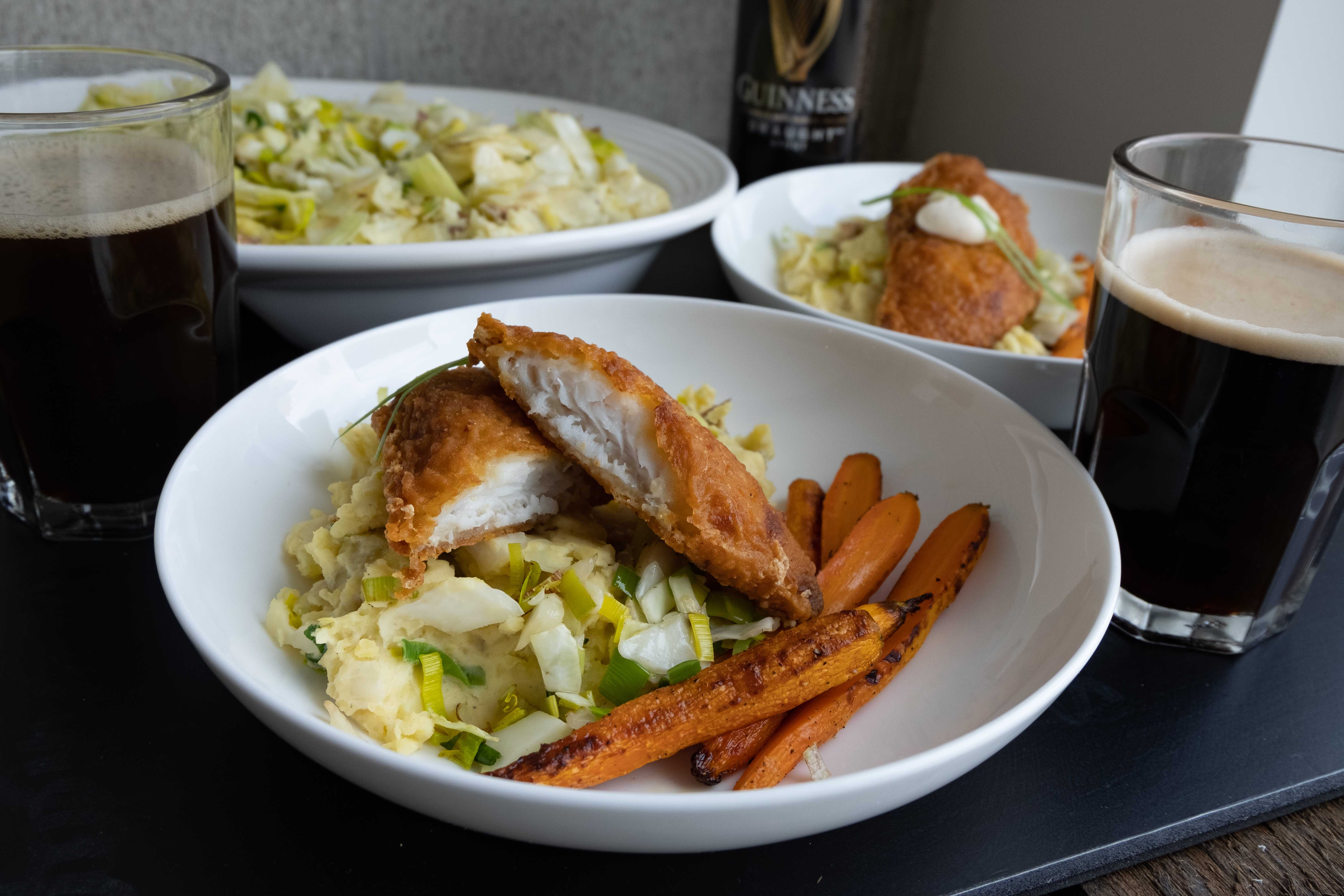 Guinness Cod with Colcannon Potatoes