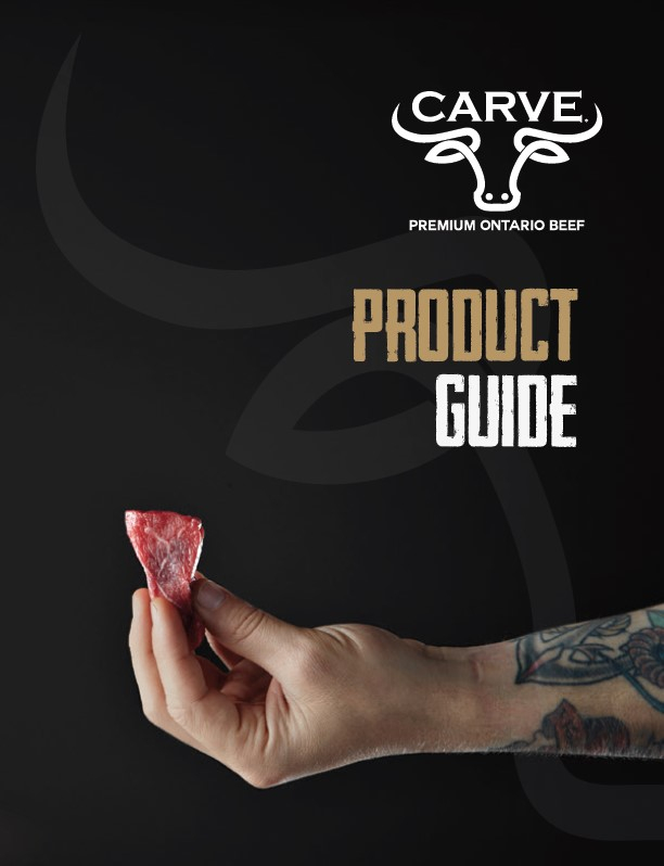 Carve Premium Ontario Beef Product Guide Cover with Hand holding a piece of raw beef