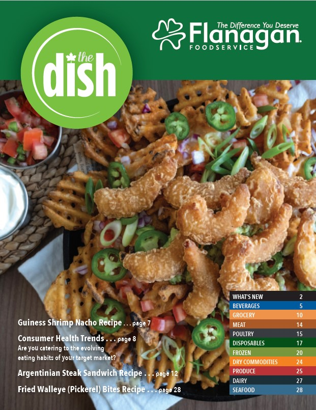 The Dish Spring Issue Cover with Battered Shrimp Nachos on the cover