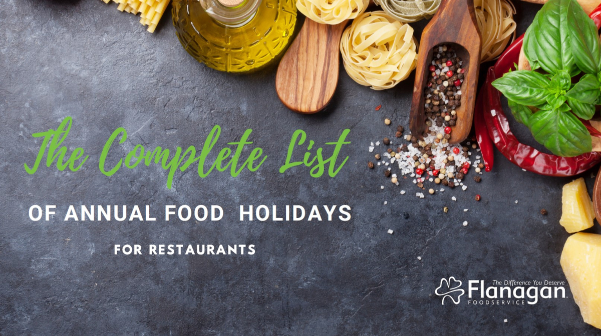 Annual Food Holiday Calendar cover with grey background and various food items