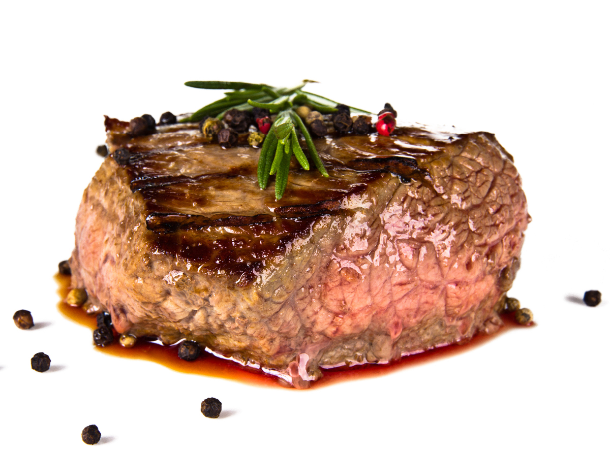 Cooked steak on white background