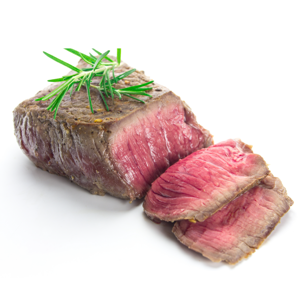 Cooked steak white background