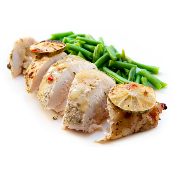 Chicken and beans white background