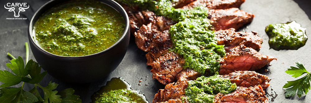 Carve Beef Coffee Rubbed Teres Major with Chimichurri Sauce Recipe Photo