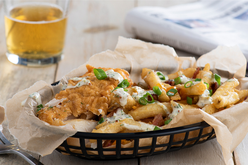 Beer-Batter Fish with Loaded Bacon Cheddar Chips Recipe