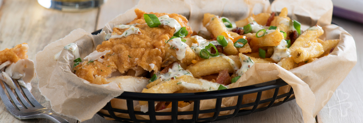 Beer-Batter Fish with Loaded Bacon Cheddar Chips Recipe Photo