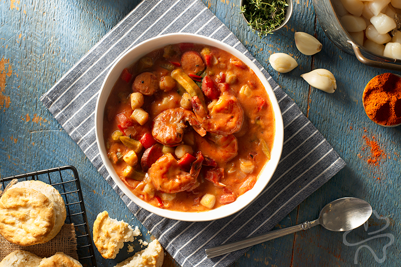 Scallop and Andouille Sausage Gumbo with Shrimp Photo
