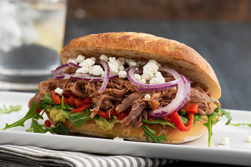 Italian Beef Sandwich with Goat Cheese and Roasted Red Peppers Recipe