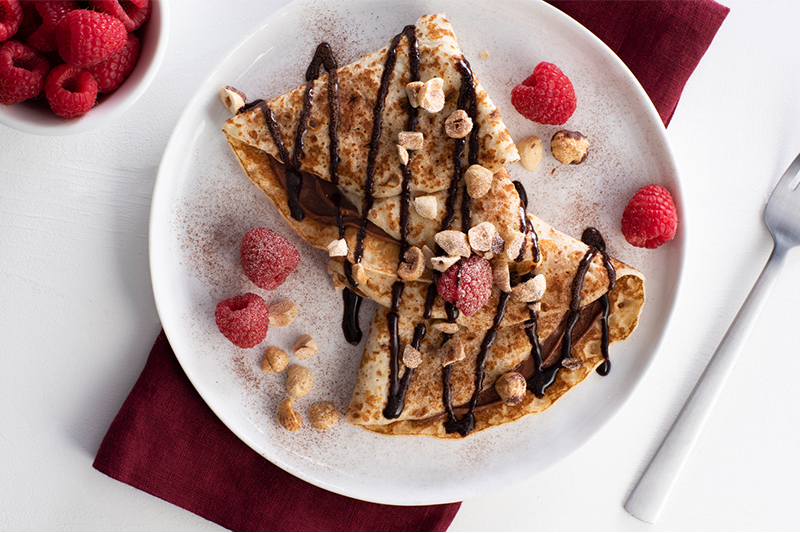 Chocolate Hazelnut Crepes with Raspberries Recipe