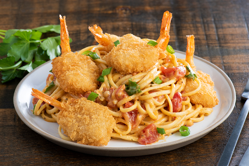 Creamy Linguine with Fried Shrimp Recipe